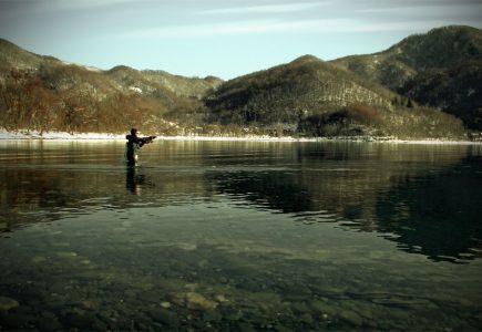 洞爺湖でフライフィッシング・・桜散る